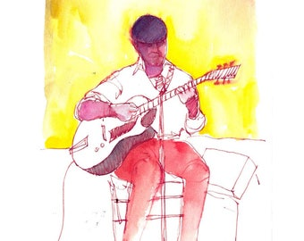"""Print from original watercolor and pen urban sketch, """"Street Musician II"""" by Mark Alan Anderson."""