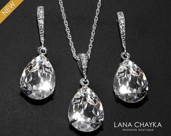 Crystal Bridal Jewelry Set Clear Crystal Earrings&Necklace Set Swarovski Crystal Rhinestone Jewelry Set Wedding Bridesmaids Jewelry