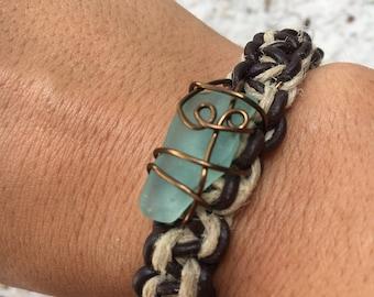 Hemp & leather bracelet with sea glass