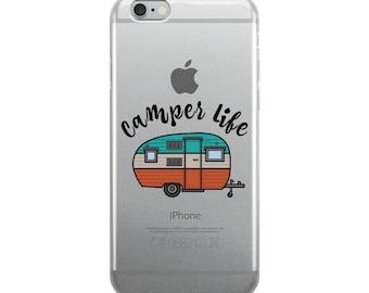 Camper Camping Life RV Airstream Summer Road Trip Clear iPhone Case
