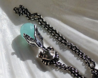 925 Silver Fantasy-Necklace with faceted Aqua Chalcedony Pendant