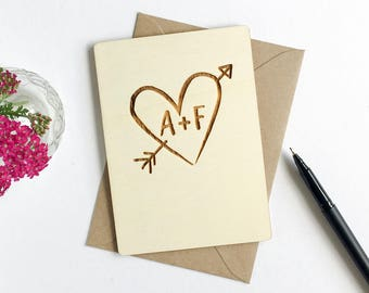 Engraved heart card - wooden card - fifth anniversary card - 5th anniversary card - card for couples - wedding card - valentines card