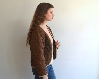 Vintage 70s Quilted Jacket Liner/ Army Military Brown Quilt Coat/ XS