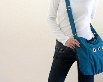 Sale 25 % - Teal Messenger bag, Small shoulder bag, Diaper bag, Tote bag, Women hobo Cross body , Gift for her  / no.16 DENISE