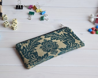 Project bag, Travel bag, Teal pencil case, Space Pencil Case, gadget pouch, Pencil Pouch, Cosmetic pouch, Damask Makeup bag, étui crayon