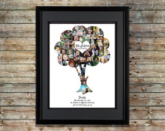Family Tree Photo Collage | Family Tree Wall Art | Family Tree Collage | Family Tree Print | Family Tree Art | Family Tree Shape