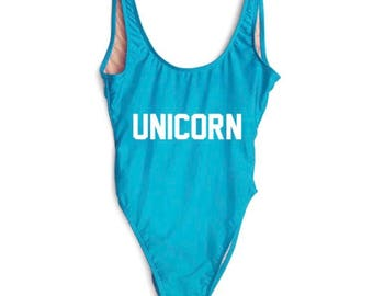 Unicorn Bathing suit, swim suit, one piece- aqua and white