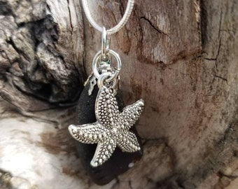Brown sea glass with starfish charm