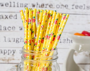 Yellow with Red Roses Paper Straws, Beautiful Straws for Wedding or Birthday Celebration, Yellow Straws, Rose, Paper Straws, Wedding Straws