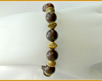"Gemstone bangle bracelet on memory wire, ""oxblood"" gemstone bracelet, statement bracelet, gifts for her"