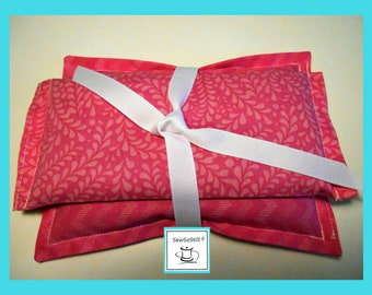 Eye Pillow, Lavender Unscented, Organic Flax Seed Eye Pillow, Relaxation Spa Gifts, Yoga Eye Pillow, Hot Cold Pack, Pinks, Tranquility Sets