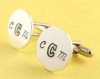 Monogram Cufflinks - Personalized Cufflinks - Custom Round Cuff Links - Father's Day Gift For Dad - Customized Cufflinks - Shirt Fastener