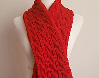 Handmade Knitted Cable Scarf Red