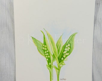 Lily of the valley, May birthday flower, original watercolor painting, birth month flower, May birthday gift