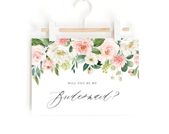 INSTANT DOWNLOAD Will You Be My Bridesmaid Card - Watercolor Peach Floral Bouquet Bridesmaid Note Card - Printable A6 Wedding Card