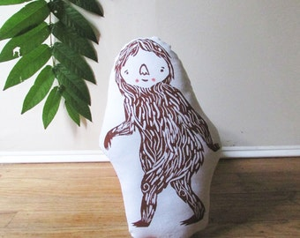 Sasquatch Shaped Animal Pillow. Bigfoot Plushie. Pacific Northwest. Hand Woodblock Printed. Pick any colors. Made to order.