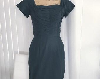 Viva Las Vegas - Vintage Black Wiggle Dress by Castelli -- 1950's Size S