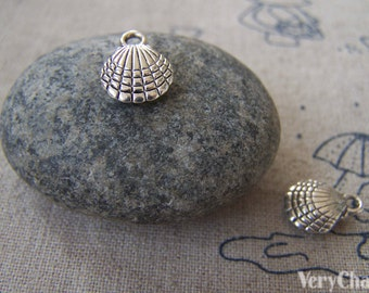 20 pcs of Tibetan Silver Lovely 3D Clam Shell Charms Double sided 12mm A2348