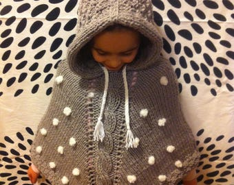 Girl Poncho, with hood, merino wool, grey, with braid and snowflakes