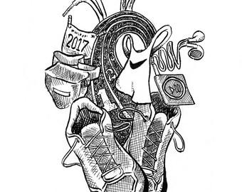 Runner's Heart; art print, heart print, artwork, design, home decor