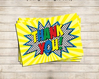 Printable Folded Thank You Card - Superhero Building Block - Instant Download