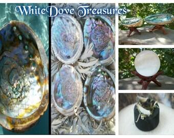 "Abalone Shell ~ 5-6"" ~ White Sage ~ Wood Tripod ~ Smudge Set ~ Choice Listing"