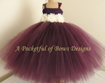 Plum Flower Girl Dress, Plum Purple Toddler Ball Gown, Plum Tulle Dress. Plum Tutu Dress