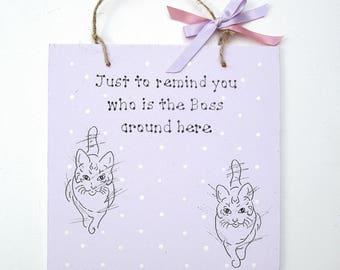 Cat Lover Gift - Cats - Custom Cat Gift - Personalised Cat Gift - Funny Cat Gifts -  Cat Decor - Cat Wall Art - Cat Art - Feline Art
