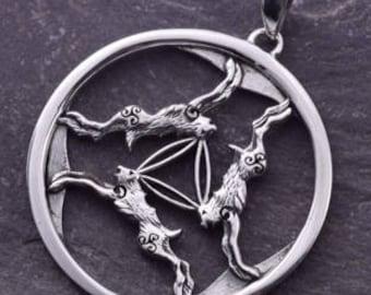 Three Hares Silver Pendant