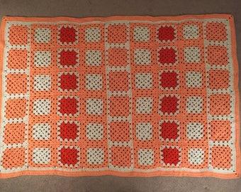 Crocheted Afghan - Creamsicle