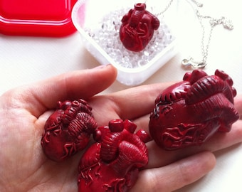 Customisable Anatomical Human Heart Transplant Necklace or Brooch