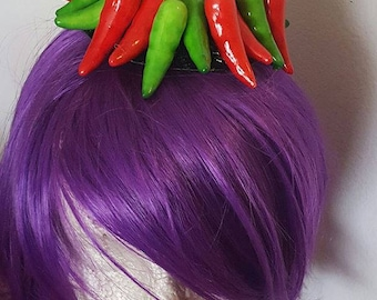 Chili hat, Red Chili hat, Pepper hat, MsFormaldehyde, Faux vegetable, Vegetable hat, Chef hat,  Mexican food