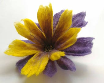 Flower brooch, Felted brooch, Purple yellow brooch pin and clip, Jewerly, Handmade, Unique, Hair Accessories