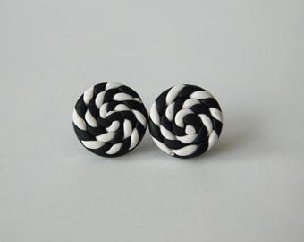 Black and White Stud Earrings, polymer clay jewelry, 14 mm stud earrings