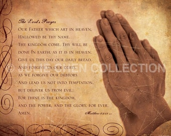 Scripture Wall Art - Inspirational Art - Bible Verse - Christian Art - Catholic Gift - Religious Artwork - THE LORDS PRAYER (praying hands)