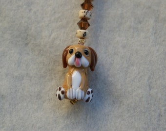 Scissor Fob - Lampworked Puppy with Swarovski Crystals