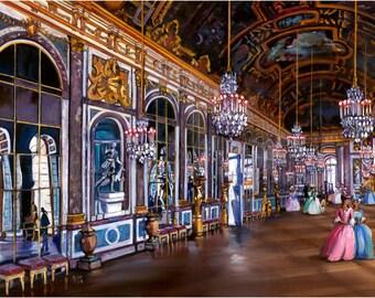 Versailles, Paris Painting - 18x12in Giclee Print