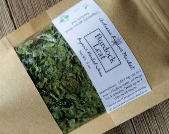 Organic Burdock Leaf, Organic Dried Herbs, Loose Leaf Tea, Herbal Tea