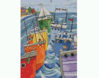 Rainbow flotilla - Anchor Cross stitch kit with sea and rainbow boats pattern