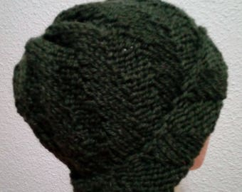 Hand knit hat Oversized Chunky Wool  Hat   dark green, hat slouchy hat    dark olive, cable hat Superwash Wool