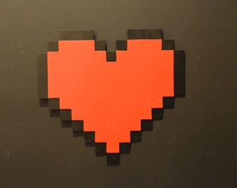Wooden Pixel Heart
