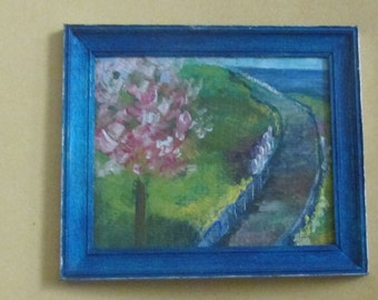doll house miniature framed painted flowering tree