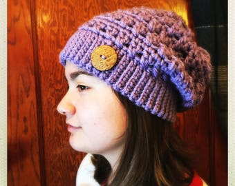Crocheted Lavender Soft Chunky Slouchy Hat w/Buttons