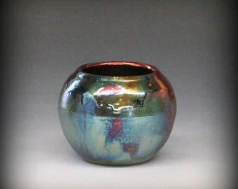 Raku Pot with Metallic Iridescent Colors