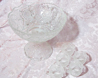 Antique EAPG Clear Imperial Glass Punch Bowl Set - Broken Arches Pattern