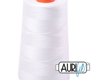 AURIFIL Cone MAKO 50 Wt 5900 Meters 6452 Yds Color 2024 White Quilt Cotton Quilting Thread