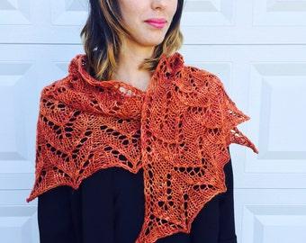burnt orange autumn shawl, hand knit, merino, alpaca, silk