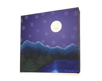 Mountain Landscape Acrylic Art - original painting of a moonlit scene with pysanky inspired patterns. Square canvas artwork