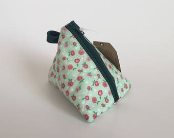 Mini Pouch -  Change Purse - Flowers Coin Pouch - Coin Pouch - Pyramid Earbud Pouch - Key Chain Pouch - Triangle Lipstick Pouch - Small Size
