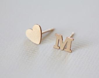 gold initial earrings, dainty earrings, set of letter and heart earrings - gold filled